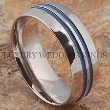 blue titanium wedding band mens titanium ring shiny wedding band blue accent bridal jewelry