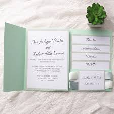 chic mint green pocket ribbon wedding invitations ewpi130 as low