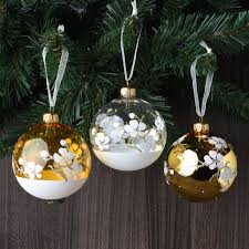 set of 6 painted flowers european glass ornaments