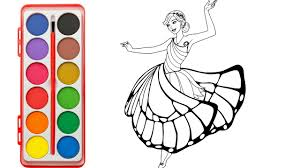 how to draw barbie princess 4 learning color with barbie