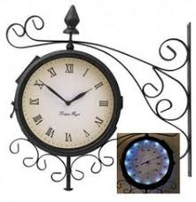 Patio Clocks Outdoor Thermometer Outdoor Clock And Double Sided 19 99 Garden Pinterest