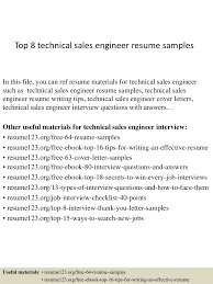 Technical Sales Resume Examples Top8technicalsalesengineerresumesamples 150410084302 Conversion Gate01 Thumbnail 4 Jpg Cb U003d1428673427