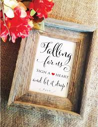 sign in guest book wedding drop box guest book sign falling for us sign a heart