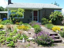 How To Landscape A Sloped Backyard - office building landscaping ideas small front yard rock garden