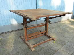 Antique Wooden Drafting Table Industrial Vintage Cast Iron Drafting Table Drawing Table