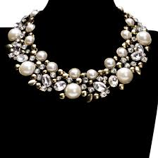 pearl bib statement necklace images Charm vintage golden chain white pearl rhinestone choker bib jpg