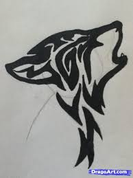 tribal howling wolf drawing clipartxtras