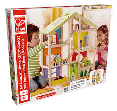 amazon com hape all seasons kid u0027s wooden doll house furnished