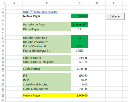 calculadora de salario diario integrado 2016 calculo inverso de sueldo en excel formulas excel