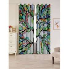 Curtains With Trees On Them 2 Pcs Of Tree Print Blackout Window Curtains Tree Print