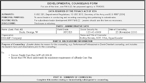 Da Form 4856 Initial Counseling Fillable Army Counseling For Family Care Plan Ar 600 20 Ar635 200