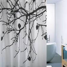 Black White Shower Curtain Style White Black Tree Shower Curtains