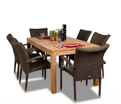 amazonia brussels 7 piece teak wicker rectangular dining set