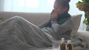 Sick Woman Lying On Her Sofa At Home Flu Woman Caught Cold - Lying sofa 2