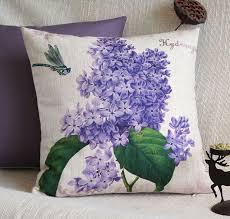 Chic Flower Hydrangea Cushion Cover Floral Purple Decorative Throw