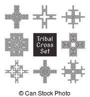 tribal cross with flying wing and scroll ornament vectors