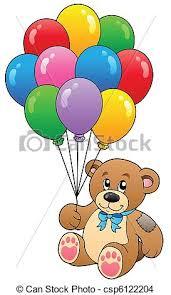 teddy balloons teddy holding balloons vector illustration eps vector