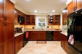 dark cherry cabinets kitchen transitional with beams beige bar