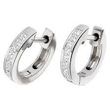 white gold hoop earrings diamond hoop earrings in 18ct white gold with princess cut diamonds
