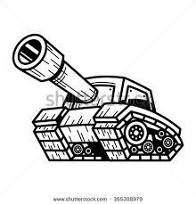 cartoon army tank machine big cannon stock vector 365308979
