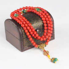 natural stone beads necklace images Red coral necklace bracelet 108 8mm natural stone beads mala jpg