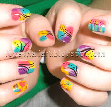 love4nailart bright abstract nail design la colors