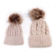 and baby matching knitted hats warm fleece crochet beanie hats
