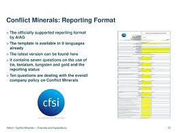 conflict minerals reporting template overview and expectations ppt