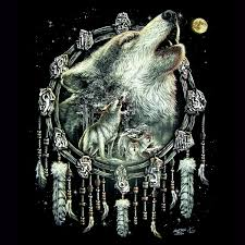 howling wolf with dreamcatcher