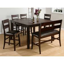 counter height dining table leather furniture wood room sets
