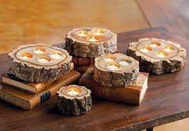 Log Centerpiece Ideas by Cool Creative Centerpiece With Log Formed Candle Holder Also