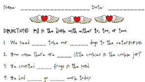 homophones to too and two printable worksheet with answer key