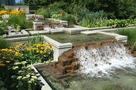 Garden Waterfall Ideas Decor Tips Outdoor Solar Fountains With Ponds And Waterfall Garden