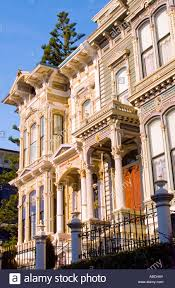 victorian style houses in san francisco california usa stock