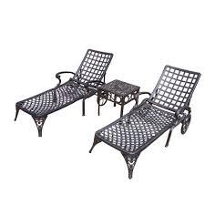 Cast Aluminum Patio Furniture Sets - oakland living elite cast aluminum 3 piece patio chaise lounge set