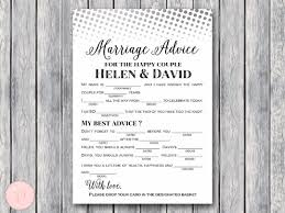 marriage advice cards for wedding custom mad libs marriage advice for and groom bows