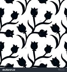 Cheap Home Decor Sites Ditsy Floral Pattern With Small Black Tulips On White Background