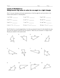 fillable online lesson 4 worksheet 2 using inverse trig ratios to