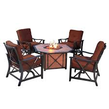 Gas Fire Pit Table And Chairs Agio Haywood 5 Piece Fire Pit Set With 4 Spring Chairs And 1 Gas