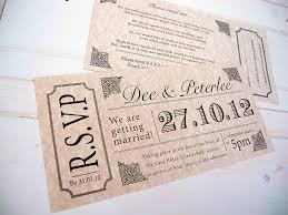 vintage style wedding invitations wonderful ticket style wedding invites wedding ticket style