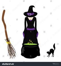 vector illustration witch brews potion cauldron stock vector