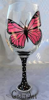 erfly wine glass monarch wine glass hand painted by granart
