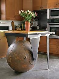 repurposed kitchen island a salvaged marine steel buoy is repurposed into a functional