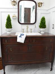 turn a vintage dresser into a bathroom vanity hgtv turn a vintage dresser into a bathroom vanity