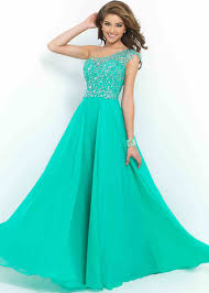 sheer beaded one shoulder chiffon caribbean green prom dress 2015