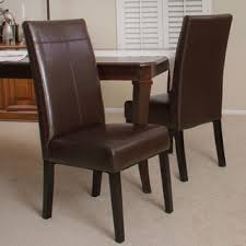 Brown Leather Chairs For Dining T Stitch Chocolate Brown Leather Dining Chairs Set Of 2 By