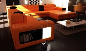 Orange Leather Sectional Sofa Sectional Sofa In Orange Bonded Leather By Vig Furniture