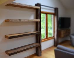 Floating Wooden Shelves by Rustic Floating Shelves Beautiful Shelf At Narrow Room