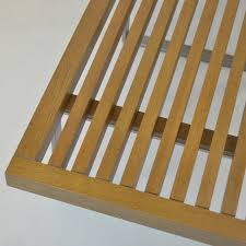 teak wood slat bench w metal legs decor nyc store