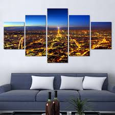 5 panels wall art painting prints home decor eiffel tower scenery